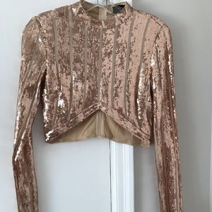 Akira Sequin Crop Turtleneck Size Small